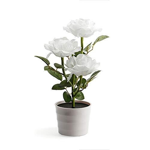 Likecrazy Deko LED Solar Rose Blume Lichter LED Künstliche Rose Topf Blume Bonsai LED Lampe beleuchtet Batterie Blumentopf Kunstpflanze Blume Kunstblume Tischlampe (Weiß,one size)