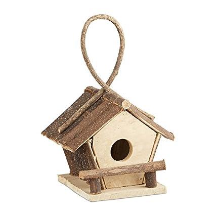 """""""Relaxdays 10021106 Casetta per Uccelli Decorativa con Gancio Piccolo Nido Uccellini Legno non Trattato, Fatta a Mano Naturale """""""