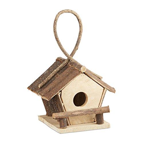 Relaxdays 10021106 casetta per uccelli decorativa con gancio piccolo nido uccellini legno non trattato, fatta a mano naturale