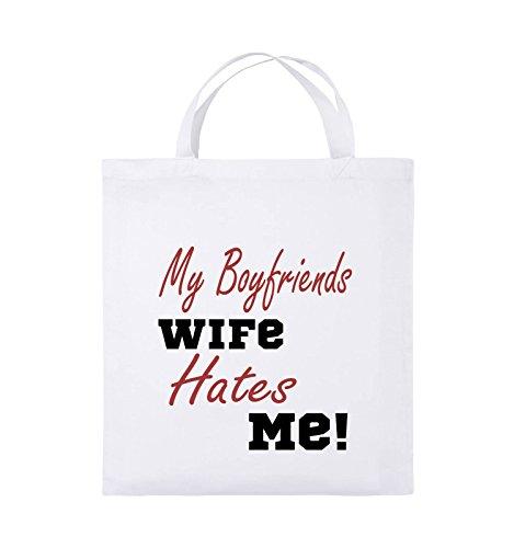Comedy Bags - My boyfriends wife hates me! - Jutebeutel - kurze Henkel - 38x42cm - Farbe: Weiss / Rosa-Violet Weiss / Schwarz-Rot