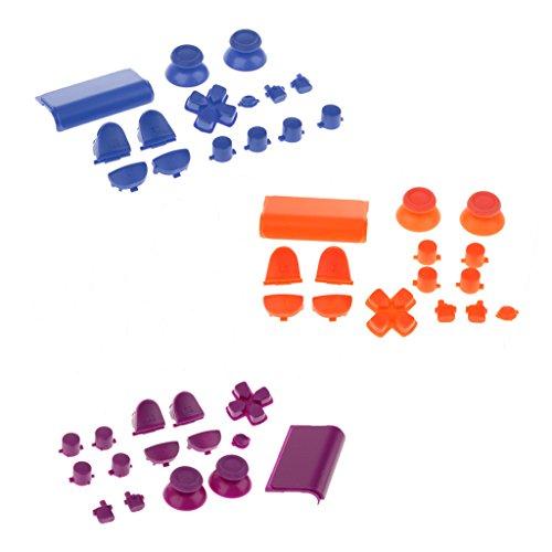Sharplace 3x Button Modding Set Buttons Thumbsticks D-Pad Knöpfe für Sony PS4 Playstation Controller - Orange + Lila + Blau