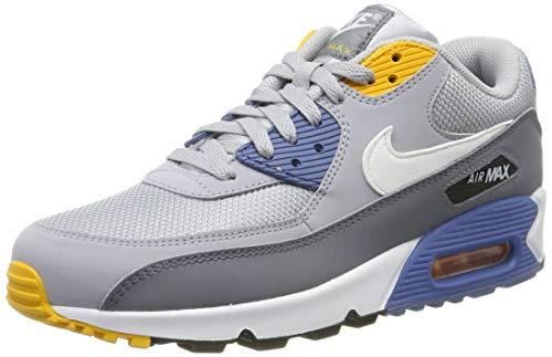 Nike Air Max 90 Essential, Chaussures de Gymnastique Homme, Gris (Wolf Grey/White/Indigo Storm 016), 46 EU