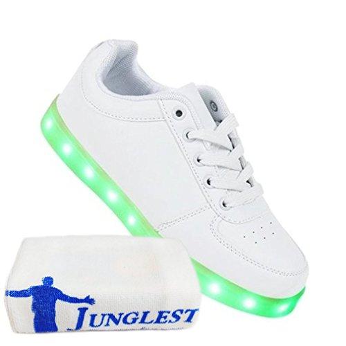 JUNGLEST Neu Damen Sneakers Leuchtende Blinkende Schuhe Led Light Licht Farbwechs kleines Handtuch Weiß