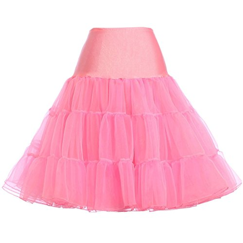50s Vintage Rockabilly Petticoat Skirt Rosa Wedding bridal Knielang unterrock S,C1,Rosa