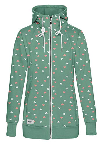 TrendiMax Damen Sweatjacke Kapuzenjacke Full Zip Sweater Langer Hoodie Kapuzenpullover-S-Grün mit Herz Print -