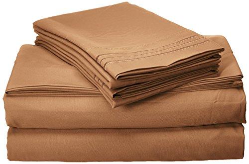 Eleganten Komfort 1500Fadenzahl Ägyptische Qualität Super Soft knitterfreies 4er Set Tabelle, Full, Mokka Schokolade -
