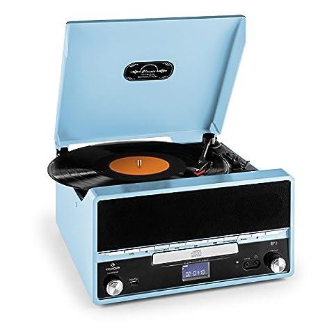 auna RTT 1922 Stereoanlage Plattenspieler (MP3-fähiger USB-Slot, MP3-CD-Player, UKW-Radio, AUX, Aufnahmefunktion)