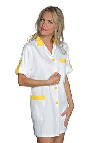 Blouse de Travail Manches ajustables York Blanc Jaune Blanc