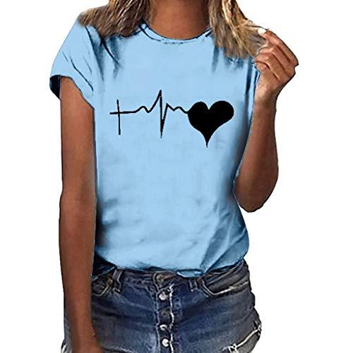 Lazzboy Donna T-Shirt/Canotte Tops Love Shape Heart Elettrocardiogramma Stampare Largo Manica Corta O-Neck Bluse(M(42),Cielo Blu-Nero Cuore Ⅱ)