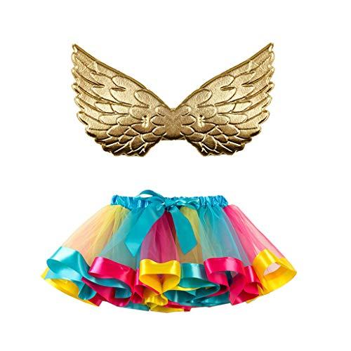 Mädchen Regenbogen Layered Rock Rüschen Tiered Tüll Tutu Kostüm + Flügel 2 Stück Anzug Mädchen Ballett Kostüm Fotos Karneval Rock 2-11 Jahre
