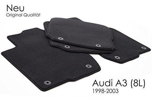 Tappetini Audi A3 S3 8L, velluto tappetini per auto, colore: nero