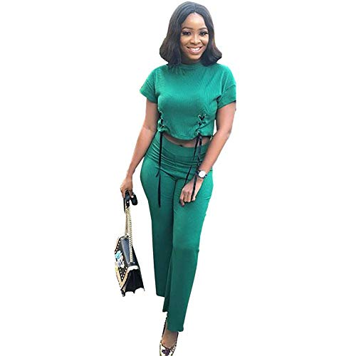 yifutang Damen's Solid Green Casual Two Piece Outfits Short Sleeve Bandage Tops und Slim Wide Beinhosen