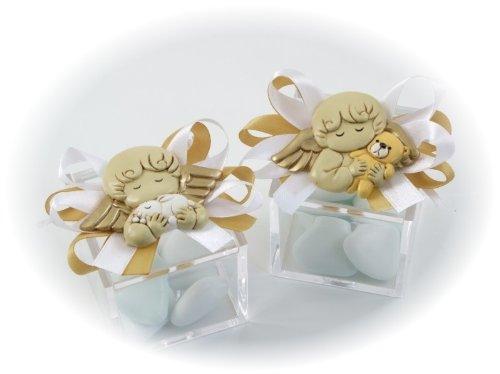 Bomboniera solidale cuorematto scatola plex 5x5 magnete angelo maschio portaconfetti in caso di acquisto multiplo arriva assortito battesimo