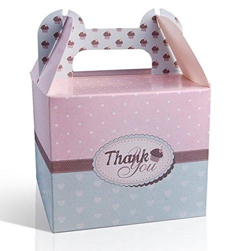 P&D 25 Stück Cupcake Boxen Thank You Muffins Kuchenbox Geschenkbox Danke Hochzeit Gastgeschenk (Türkis-hochzeit Kuchen-boxen)