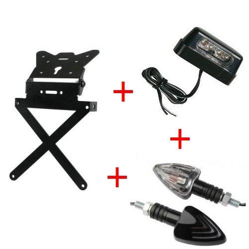 Kennzeichenhalter für Motorrad Kit Universal + 1Paar Blinker + Kennzeichenbeleuchtung zugelassen Lampa Kawasaki ZZR 12002002–2005
