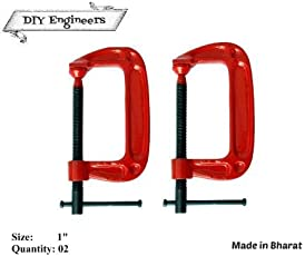 DIYEngineers G Clamps 1 Inch 2 Pc Toughned Iron
