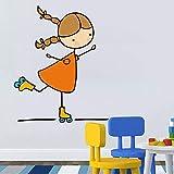 Cartoon niedlichen kleinen Engel Wandaufkleber Mädchen spielen Skateboard Schaukel für Kinder Baby Zimmer Schlafzimmer Home Decoration Aufkleber Tapete