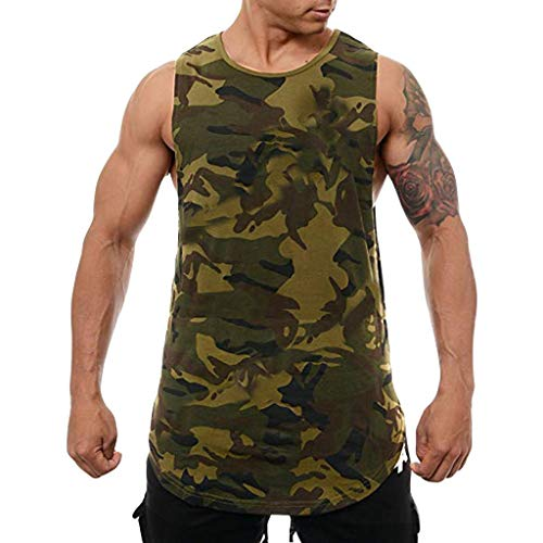 Camisetas Hombre Tirantes Gym Verano 2019 Nuevo SHOBDW Blusa Hombre Tops Sin Mangas Camisetas Hombre Deporte Fitness Camisetas Camuflaje Hombre Tallas Grandes M-3XL(Verde,3XL)