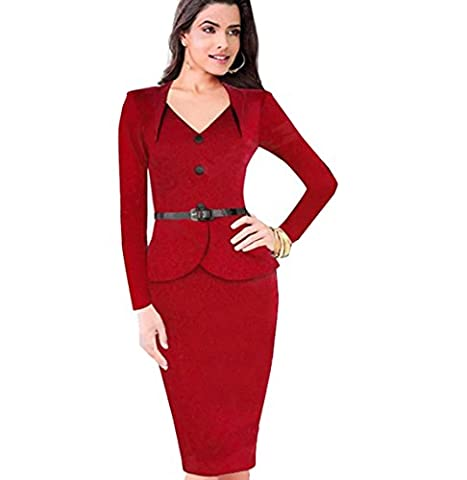 TYERY Long Sleeves Lotus Leaf Pack Hip Dress,Red,Xxl