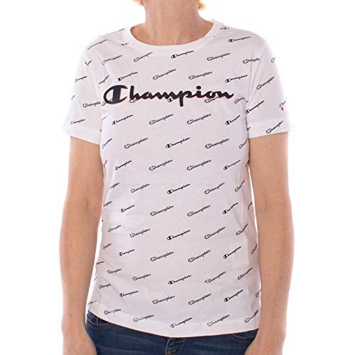 Champion T-Shirt Damen 111437 S19 WL001 WHT/Allover Weiss, Größe:S