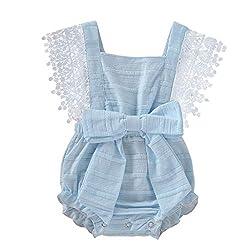 AIni Baby Bekleidung, Mode Elegant Sommer Neugeborenes Baby MäDchen Jungen Fester Spitze Bogen Spielanzug Bodysuit Kleidungs-Outfits BeiläUfiges Strand Kleid Kleidung(70,Blau)