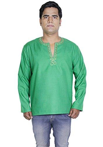 Mens casuale manica lunga in cotone kurta polo t-shirt abbigliamento indiano -m