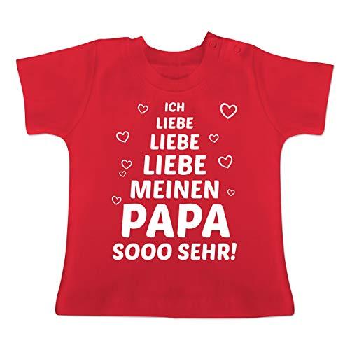 Sprüche Baby - Ich Liebe Meinen Papa so sehr - 12-18 Monate - Rot - BZ02 - Baby T-Shirt Kurzarm (Die Größe Der Familie Grüner Tee)