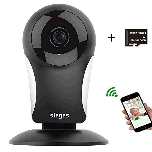 Wireless IP Kamera 960P HD , SIEGES Baby Monitor Camera mit Zweiwege-Audio , Nachtsichtmodus , Alarm Informationen für ein sicheres Zuhause - Unterstützt nicht 5Ghz (Schwarz)