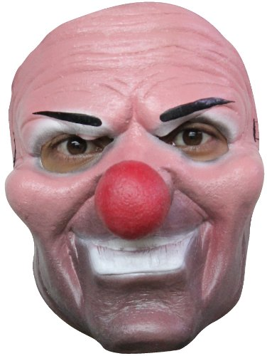 Generique - Masque clown malfaisant nez rouge adulte Halloween