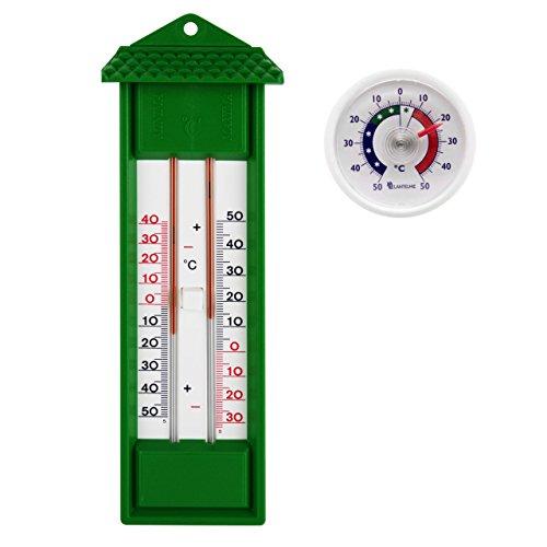 Lantelme Set Min Max Innen - Aussen - Garten Thermometer mit 2 Skalen Analog in grün Gartenthermometer und universal Klebe Thermometer weiß Quecksilberfrei (SB1117N)