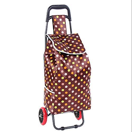 ZHAOHUI Chariot De Courses Tuyaux en Acier Tissu Oxford Pliable Roue PU Rouge Imperméable Résistant À l'usure, Charge 60 Kg, 4 Couleurs (Couleur : D)