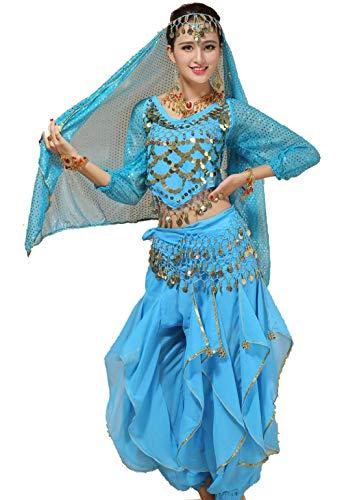 Kleidung Kostüm Zigeuner - ZYLL Bauchtanz Halloween Karneval Kostüm Bollywood Kleidung 5-teiliges Set,Green,XL