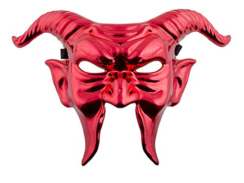 Zauberclown Teufelsmaske glänzende metallic Maske mit Hörnern- Devil Grusel Horror Halloween Kostüm, Rot