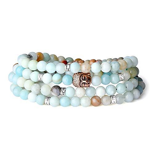 Coai bracciale 108 perle mala in amazzonite, bracciale buddhista unisex