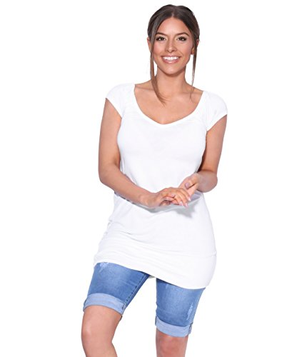 KRISP Mujer Camiseta Larga Básica Manga Corta 7604-WHT-16