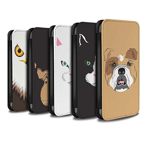 STUFF4 PU-Leder Hülle/Case/Tasche/Cover für Apple iPhone 5/5S / Schwarze Katze Muster / Schnauzen Kollektion Multipack