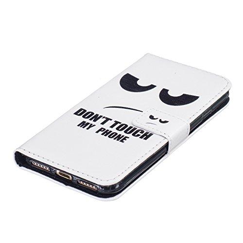 iPhone 7 2016 Lederhülle,iPhone 7 2016 Brieftasche,JAWSEU Retro Prägung Pfaublume Muster Strap Pu Ledertasche Wallet Brieftasche im Book Style Protektiv Schutzhülle Handyhülle Etui Case Cover mit [Stä Schwarz Auge