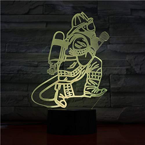 mann Tischlampe Led Usb Touch-Taste 7 Farbwechsel Feuerwehr Nachtlicht Nacht Dekor Leuchte Geschenke ()