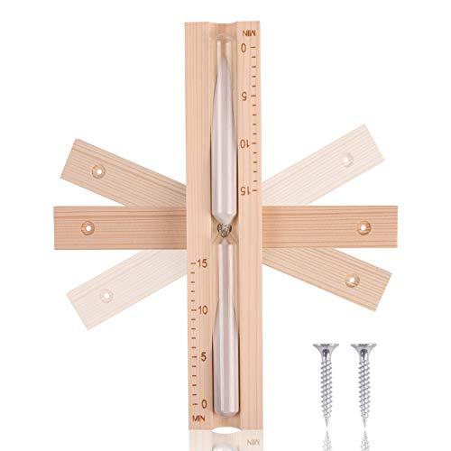 innoGadgets Sauna Sanduhr aus hochwertigem finnischen Kiefern-Holz | 15 Minuten | Sauna Zubehör | Hitzebeständiges Glas - Wandmontage inklusiver 2 Schrauben | Weißer Sand
