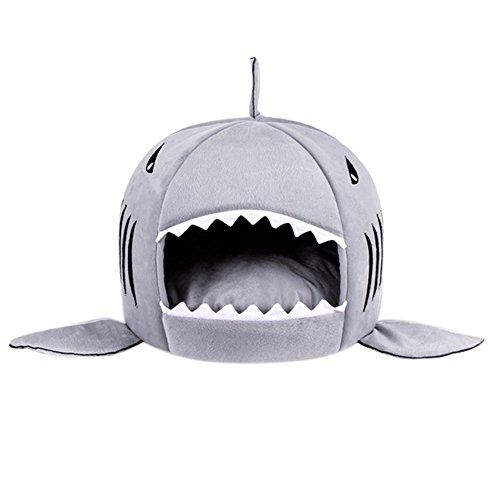 owikar Shark Form Pet haus Höhle Bett waschbar und abnehmbarer Katze Hundebett Kissen Matte Warm Soft Pet Hundehütte Haus Schlafsack mit Wasserfeste (Schwarz Kostüme Geeignet Spiderman)