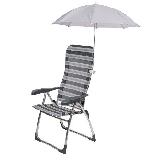 Sonnenschirm Sonnenschutz für Camping Stuhl Campingstuhl Gartenstuhl Sonnenliege zum Anklemmen Grau Durchmesser: 58,5 cm auch für Liegestuhl Hochlehner Klappstuhl, Anglerstuhl, Kinderstuhl Polyester.