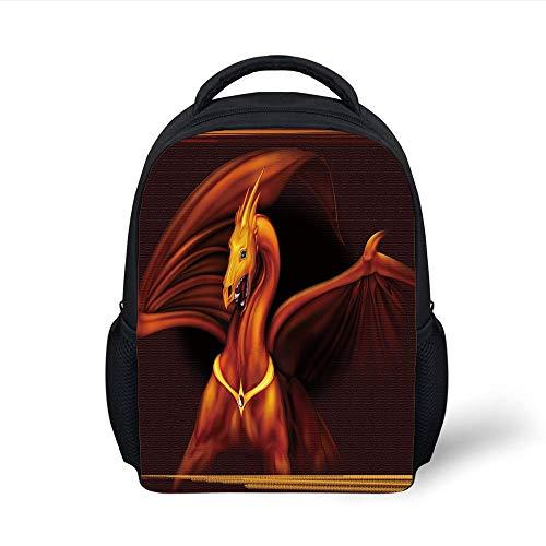 Dragon,Legandary Gold Tricon Dragon on Dark Background Magical Wild Animal Picture,Burgundy Vermilion Plain Bookbag Travel Daypack ()