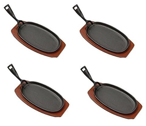 Gusseisen Servierpfanne oval mit Untersetzer und Griff Set