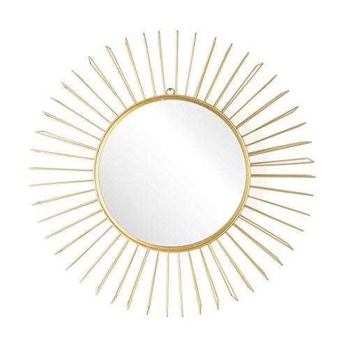 Black Velvet Studio Weinlese-dekorative runder Spiegel Metallwand Dorado - Boho Chic - Dimensional Effect - Schöne leicht und elegant. Exterior 47 * 47 * 7 cm