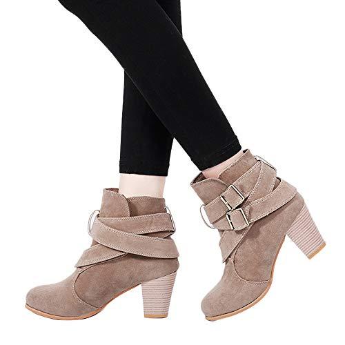 TianWlio Damen Stiefel Stiefeletten Frauen Lässige Schnallenschuhe Martain Stiefel Wildleder Stiefeletten Hochhackige Stiefel