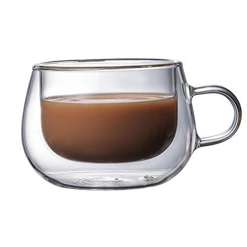iBaste Doppelwandig Kaffeetasse Glas 150 ML Teetasse mit Henkel Borosilikatglas Hitzebeständig...
