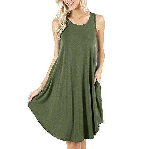 OYSOHE Women's Sleeveless Dress Pockets Casual Swing T-Shirt Dresses Tank Tops