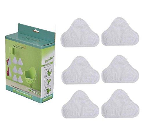Tech traders®, set di 6ricambi triangolari lavabili in microfibra per scopa a vapore per pavimenti, panni di ricambio per h2o, h20, x5 uk e molti altri