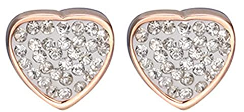SaySure - 18K Rose Gold Plated Jewelry Cz Crystal Titanium Stainless Heart Steel Earrings LE011 - CHA-UK-CJ-BG-000144 by SaySure