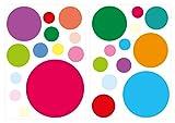 I-love-Wandtattoo WAS-10087 Kinderzimmer Wandsticker Set Bunte Kreise 25 Stück zum Kleben Wandtattoo Wandaufkleber Sticker Wanddeko